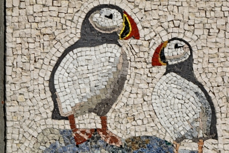 art, bird, penguin, texture, wall, old, stone, mosaic