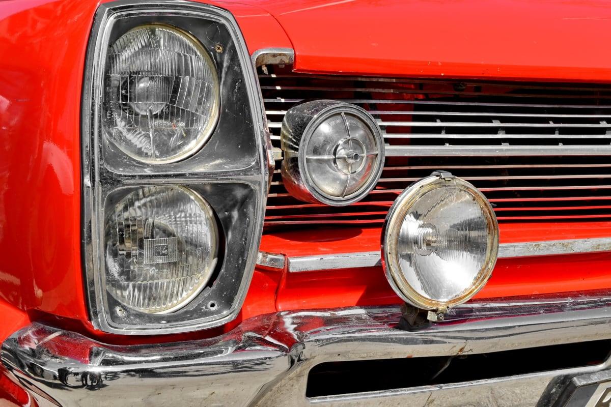 Metallic, rød, skinnende, køretøj, forsiden, klassikko, kørsel, forlygte