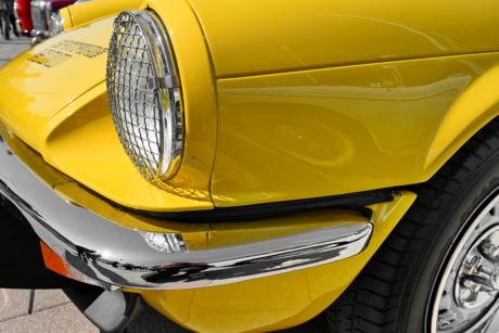 metallic, yellow, car, barrier, automobile, vehicle, headlight, chrome