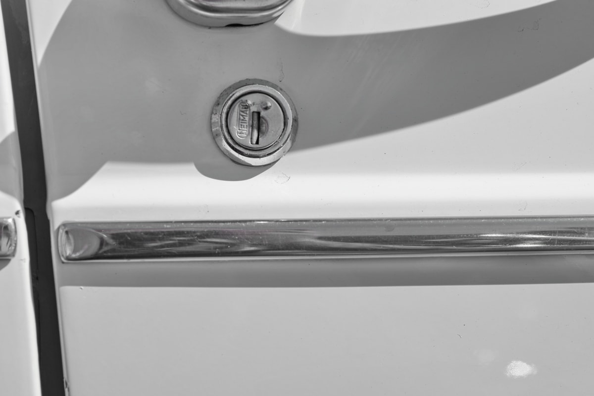 automobile, black and white, detail, keyhole, steel, chrome, stainless steel, vehicle