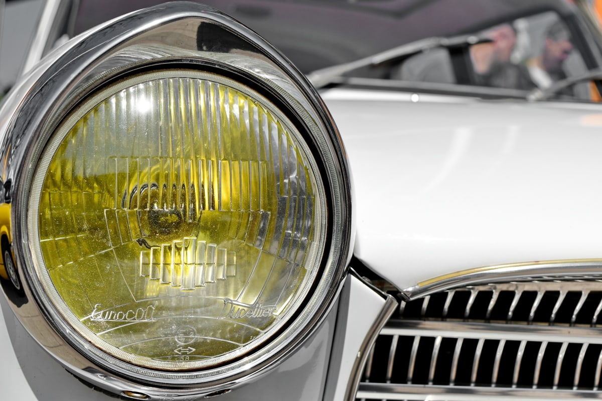 detail, nostalgia, old, chrome, reflector, headlight, vehicle, car