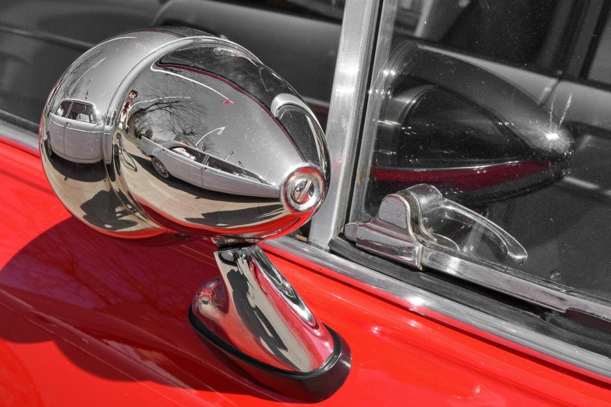 chrome, luxury, mirror, vintage, vehicle, car, drive, fast