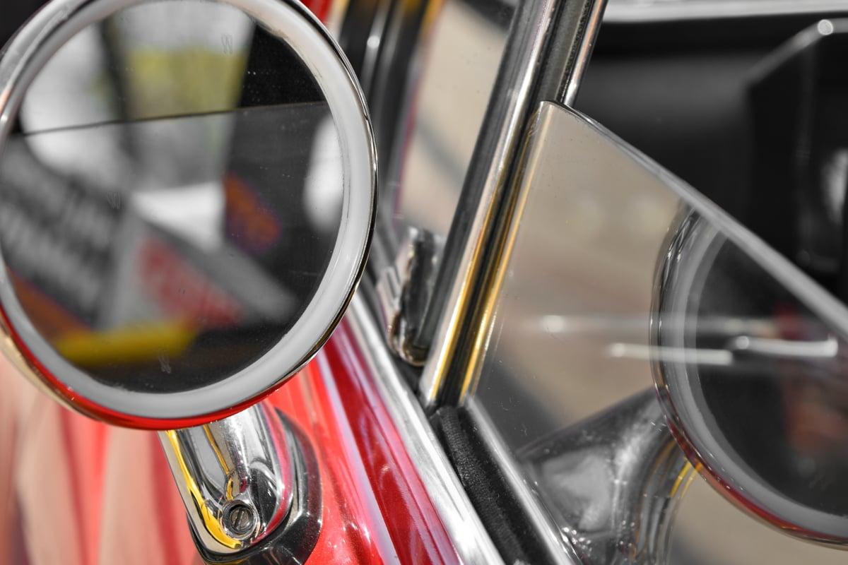 glass, mirror, reflection, window, car, vehicle, bike, chrome