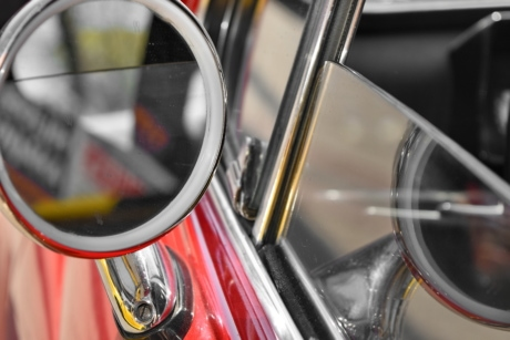 glass, mirror, reflection, window, car, vehicle, bike, chrome