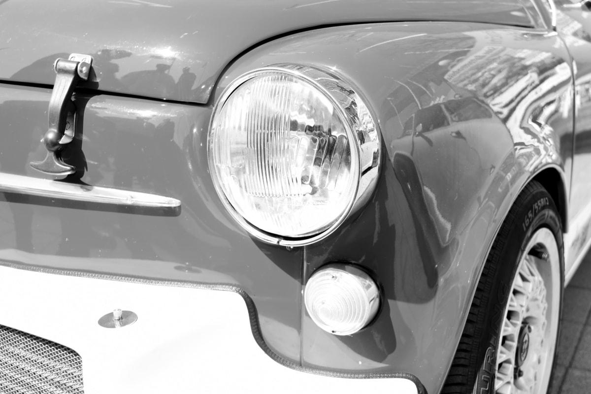 黑白, 汽车, 怀旧, 老, 南斯拉夫, 铬, 灯, 车辆