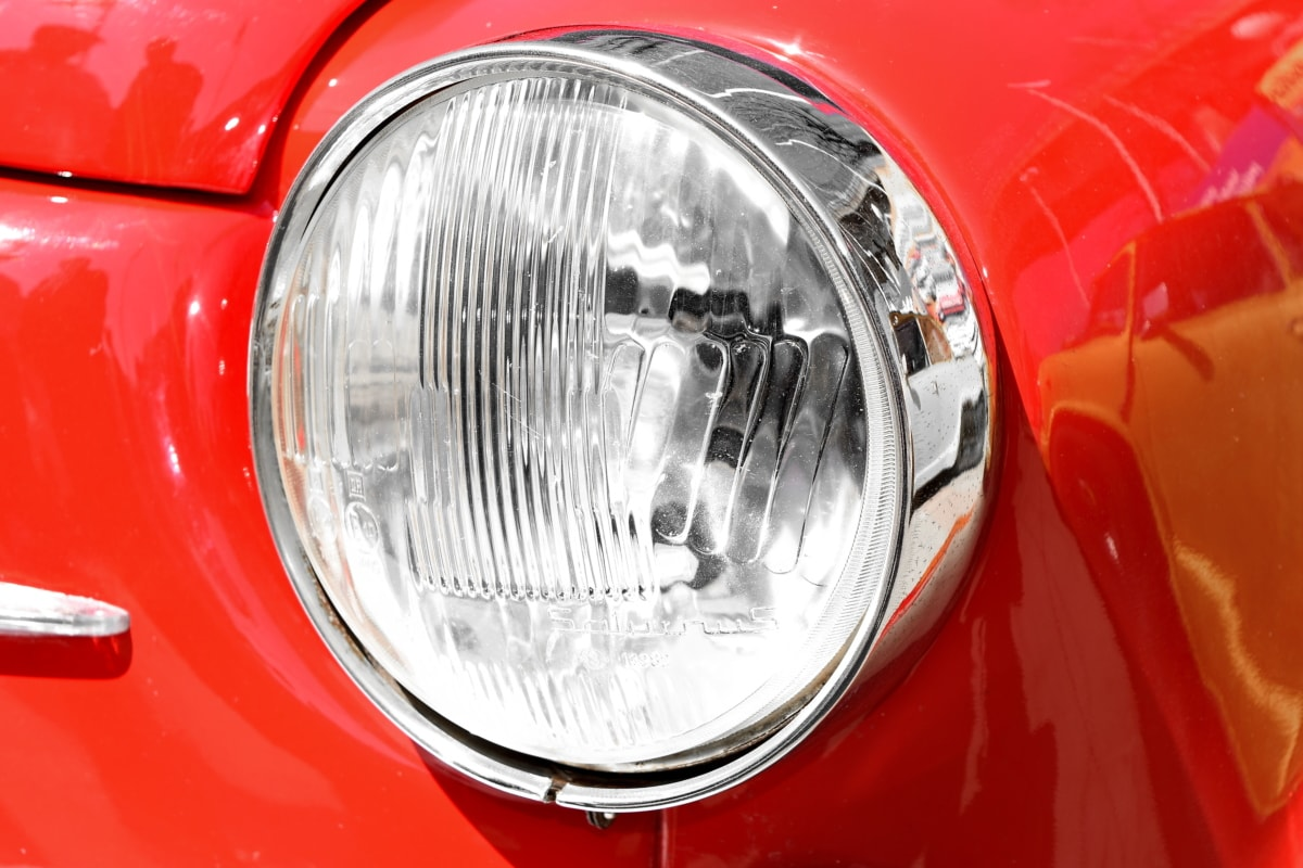 chrome, metallic, red, reflector, vehicle, headlight, car, automotive