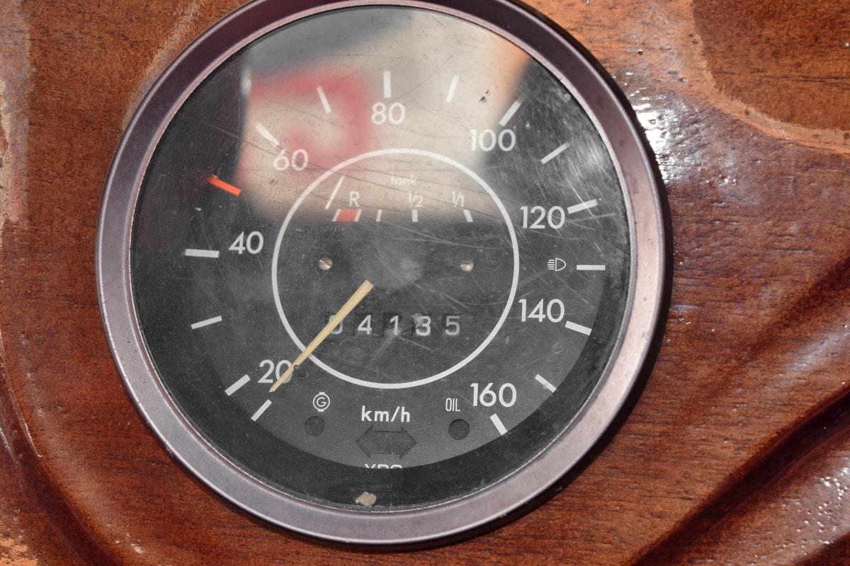 kilometer, nostalgia, old, speed limit, speedometer, wooden, number, instrument