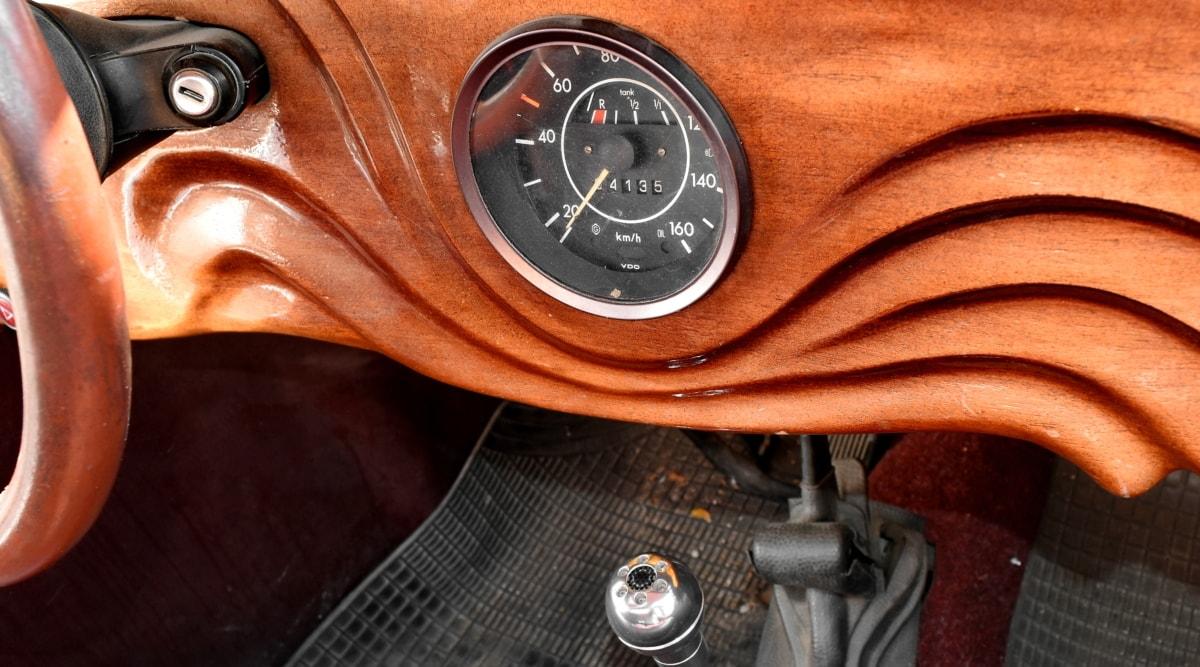 nostalgia, speedometer, steering wheel, wooden, vehicle, car, retro, old