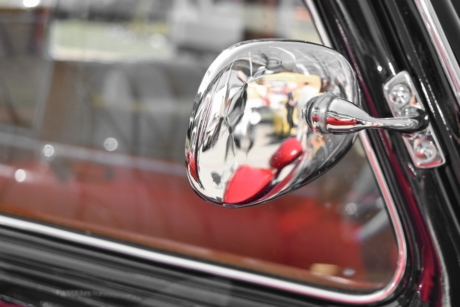chrome, mirror, old, old style, reflection, car, vehicle, fast