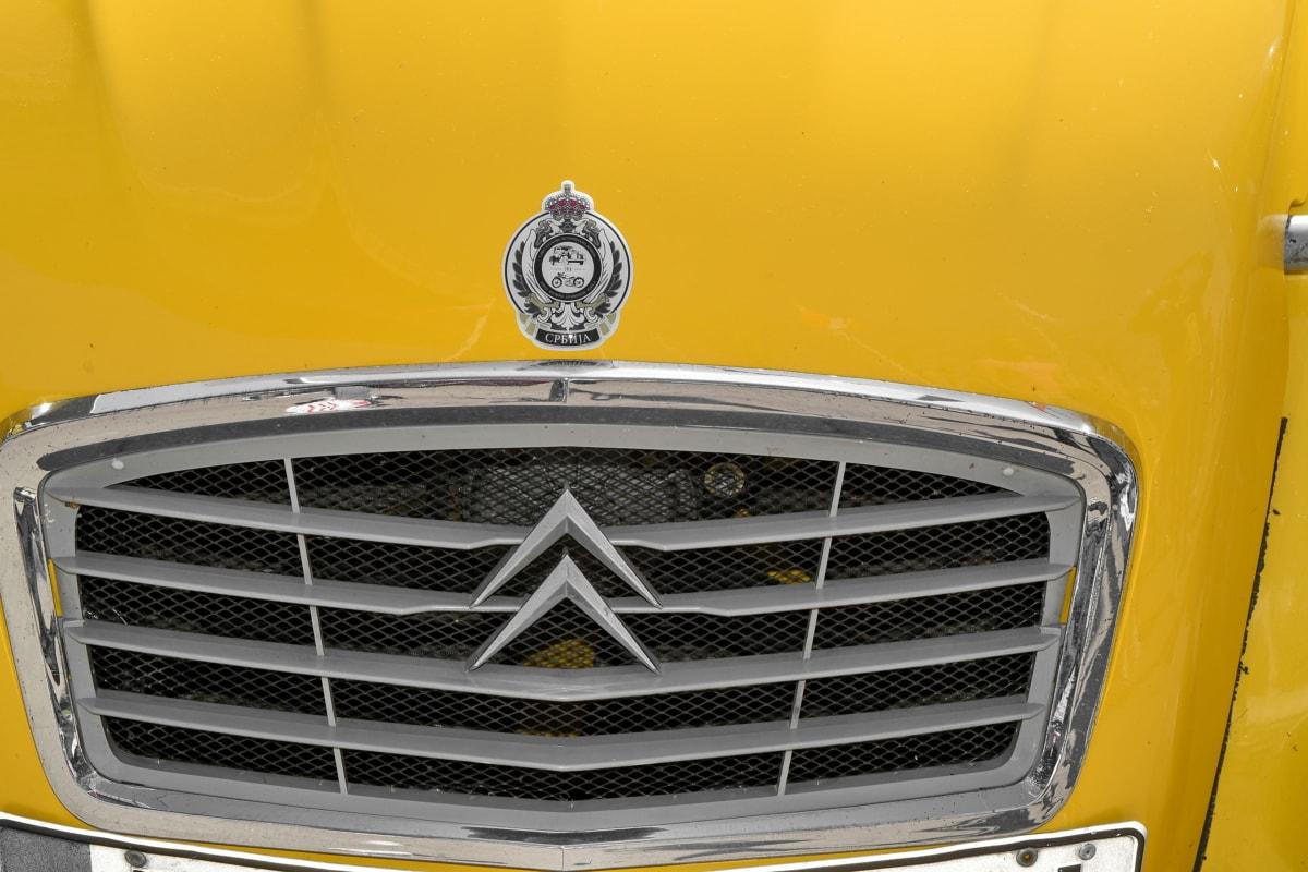 vehicle, car, classic, chrome, front, automotive, hood, metallic