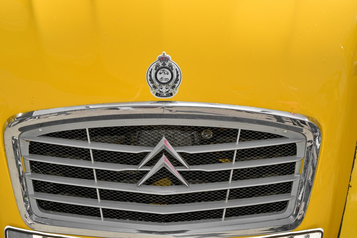 automobile, famous, yellowish, grille, car, vehicle, classic, chrome