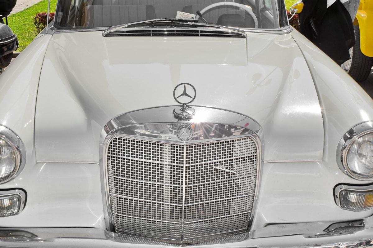 car, grille, chrome, vehicle, drive, automotive, headlight, classic