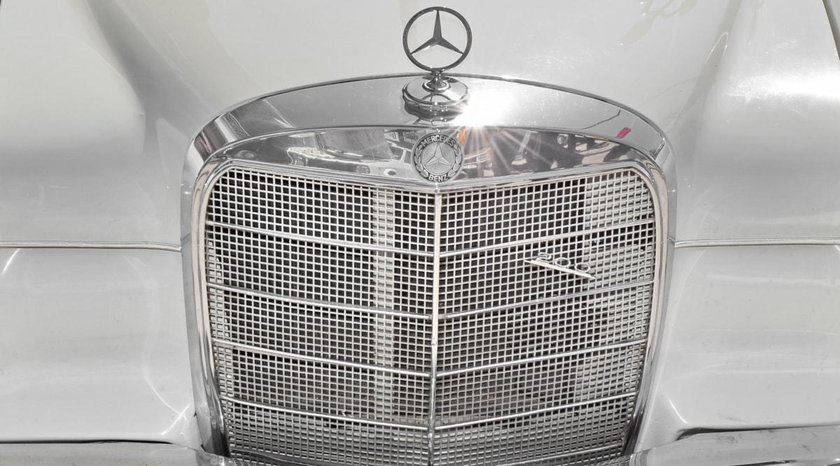 black and white, car, chrome, germany, luxury, metallic, mechanism, device