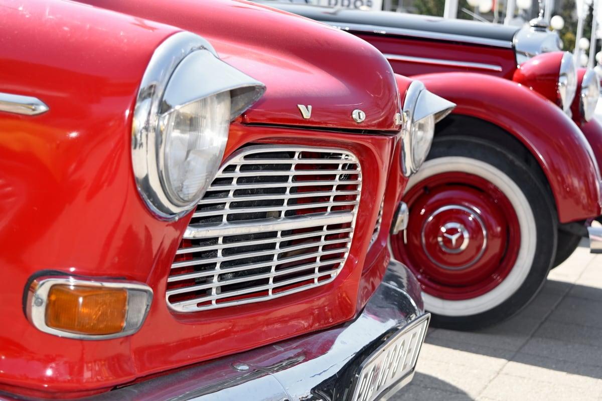 vehicle, chrome, drive, car, headlight, classic, exhibition, nostalgia