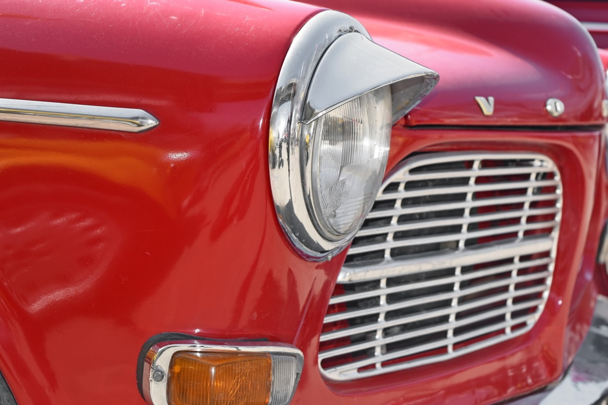 chrome, metallic, car, vehicle, automobile, headlight, classic, hood
