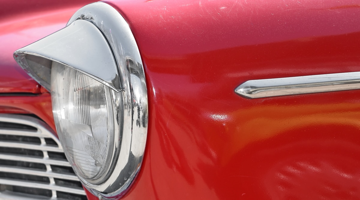 chrome, headlight, metal, old style, automobile, vehicle, car, transportation