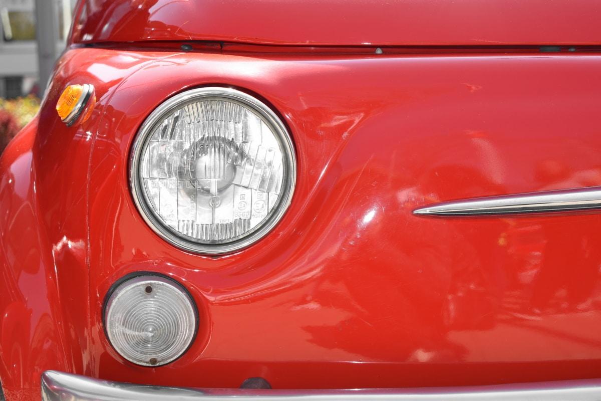 fényszóró, régi stílus, piros, jármű, autó, autó, szállítás, Króm