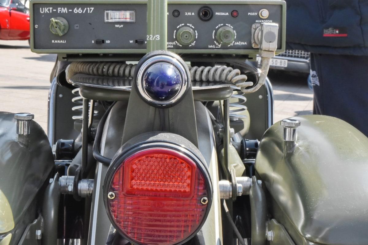 sotilaallinen, moottoripyörä, vanha tyyli, radiovastaanotin, radioasema, kuljetus, auto, ajoneuvon