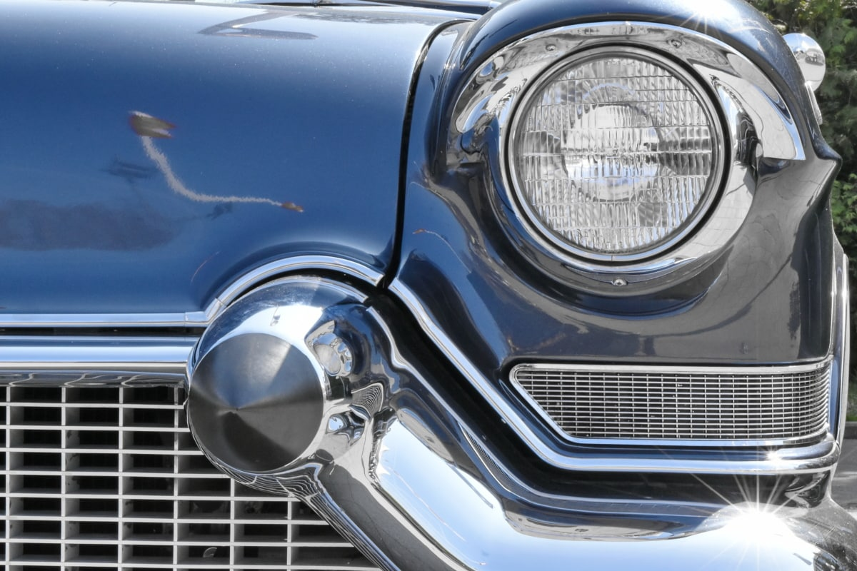 chrome, car, vehicle, drive, headlight, barrier, classic, front