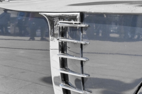 chrome, detail, reflection, vehicle, car, outdoors, architecture, winter