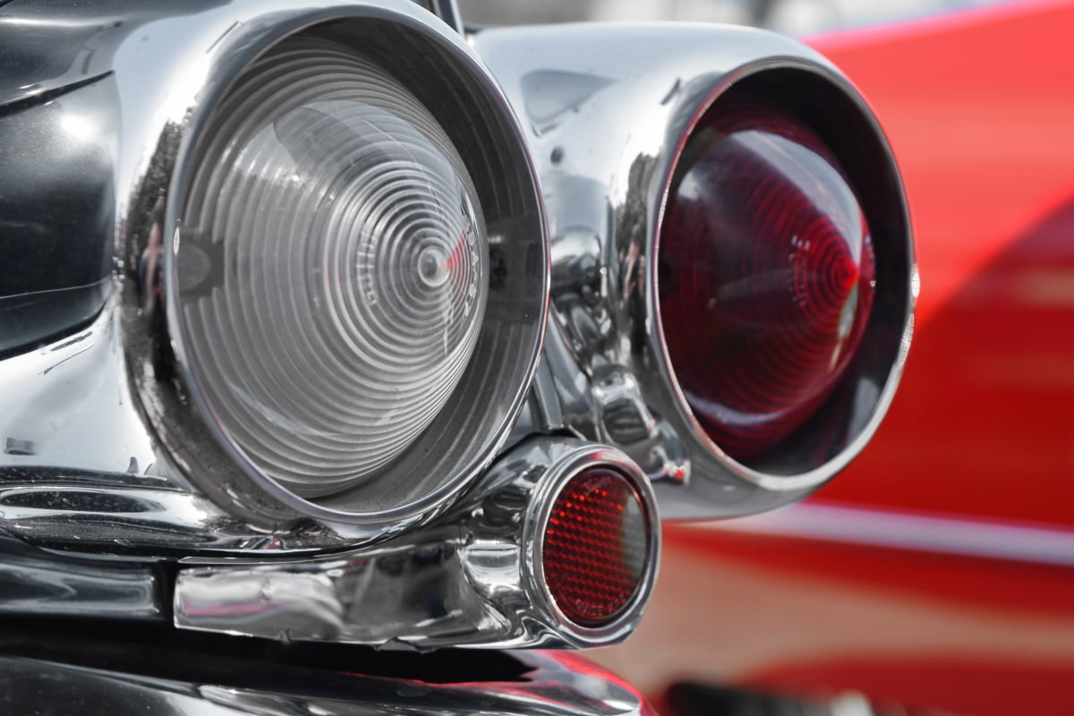 chrome, light, old style, drive, car, vehicle, device, instrument