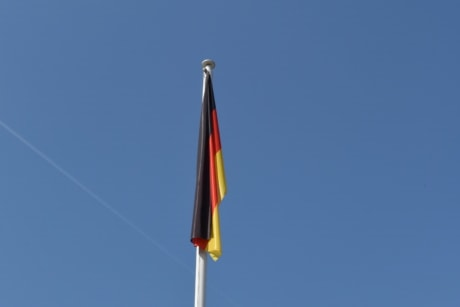 flag, germany, wind, outdoors, blue sky, high, daylight, bright