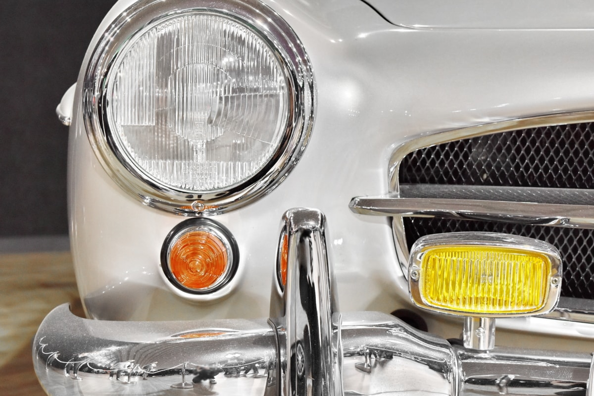 nostalgia, old style, chrome, reflector, headlight, lamp, car, vehicle