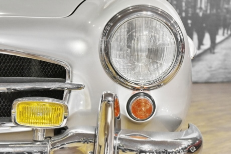 headlight, drive, automobile, car, vehicle, chrome, reflector, classic