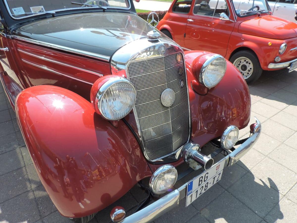 nostalgia, red, automobile, automotive, bumper, car, chrome, classic