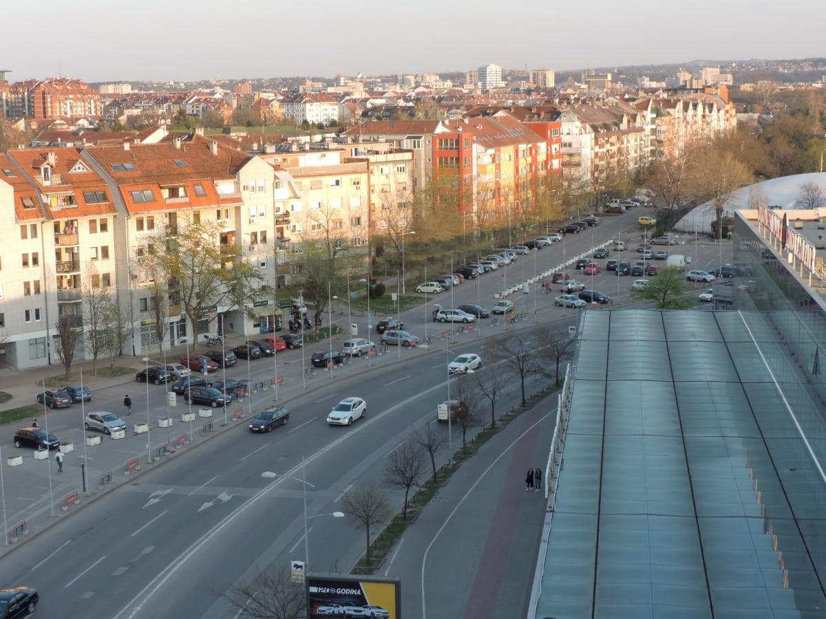 в центъра, панорама, панорамна, град, град, трафик, път, архитектура