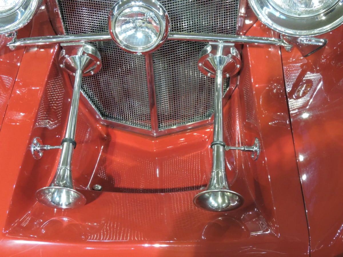 car, chrome, metal, metallic, red, classic, design, equipment