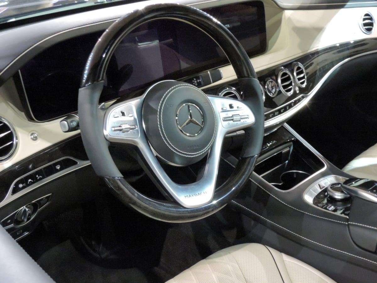 car seat, gearshift, speedometer, steering wheel, windshield, automobile, automotive, car
