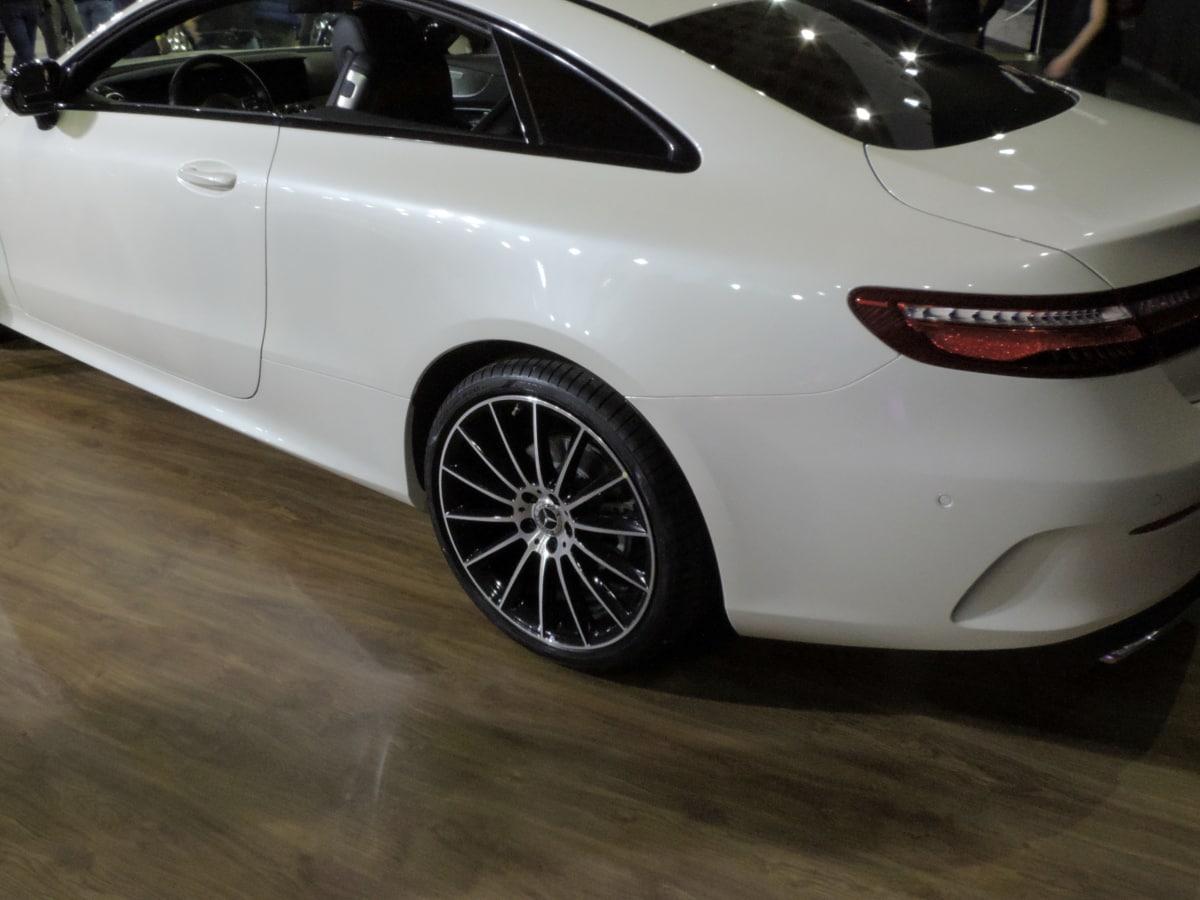 sports car, white, automobile, automotive, car, chrome, classic, coupe