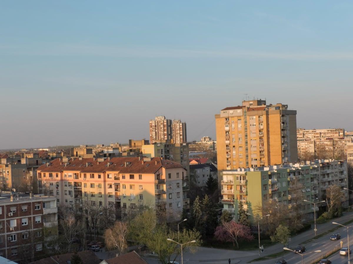 Сербія, місто, Архітектура, міський пейзаж, Будівля, на відкритому повітрі, горизонт, Захід сонця