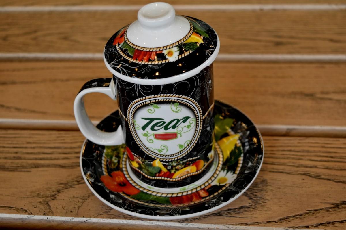 keramika, porcelán, pohár, nápoj, dřevo, dřevěný, tradiční, čaj