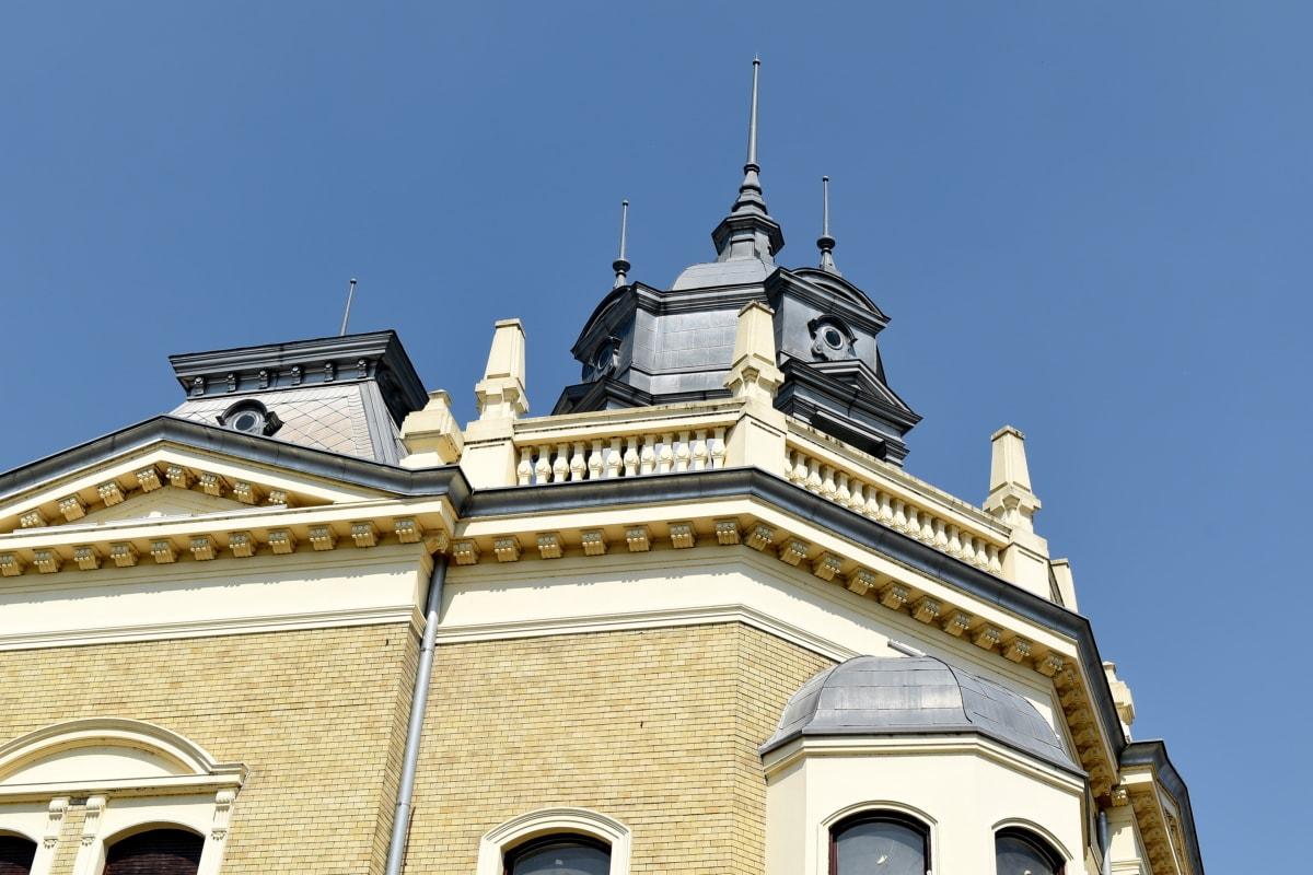 barok, architektura, budynek, Pałac, Wieża, fasada, stary, tradycyjne