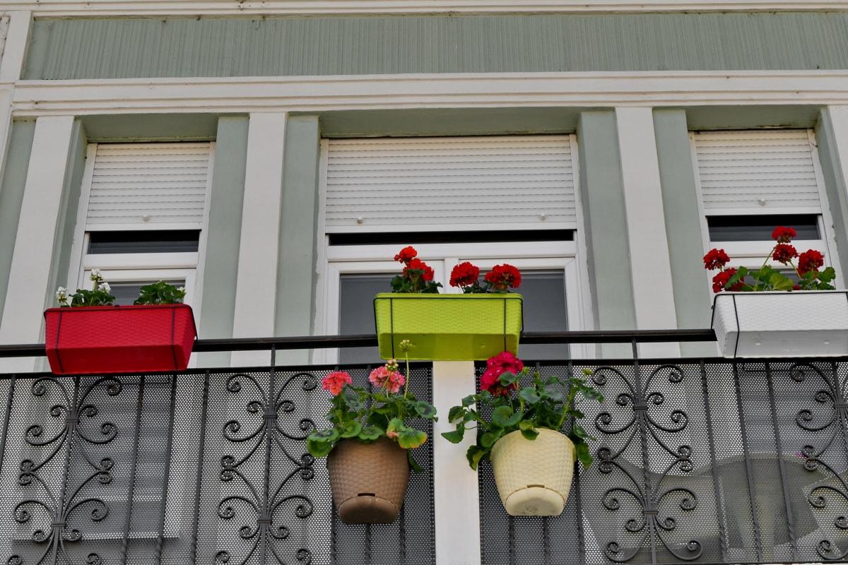 balkon, dekoration, urtepotte, vindue, hus, hjem, arkitektur, familie