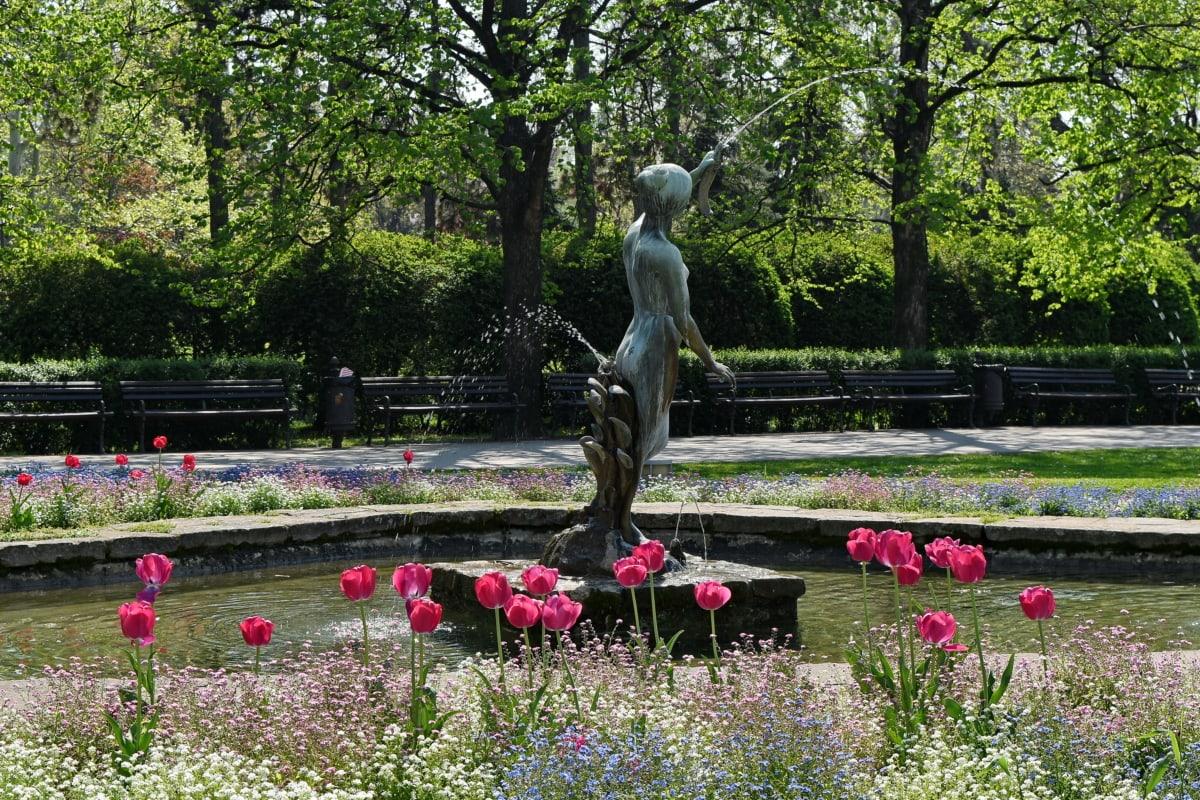 bronze, fountain, garden, sculpture, park, statue, flower, tree