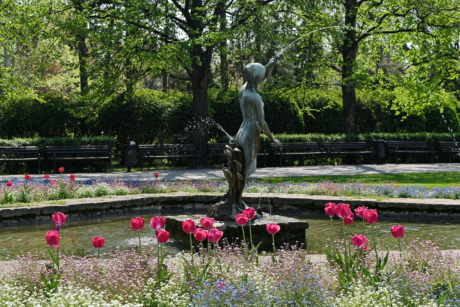 bronze, fountain, garden, sculpture, park, statue, flower, tree