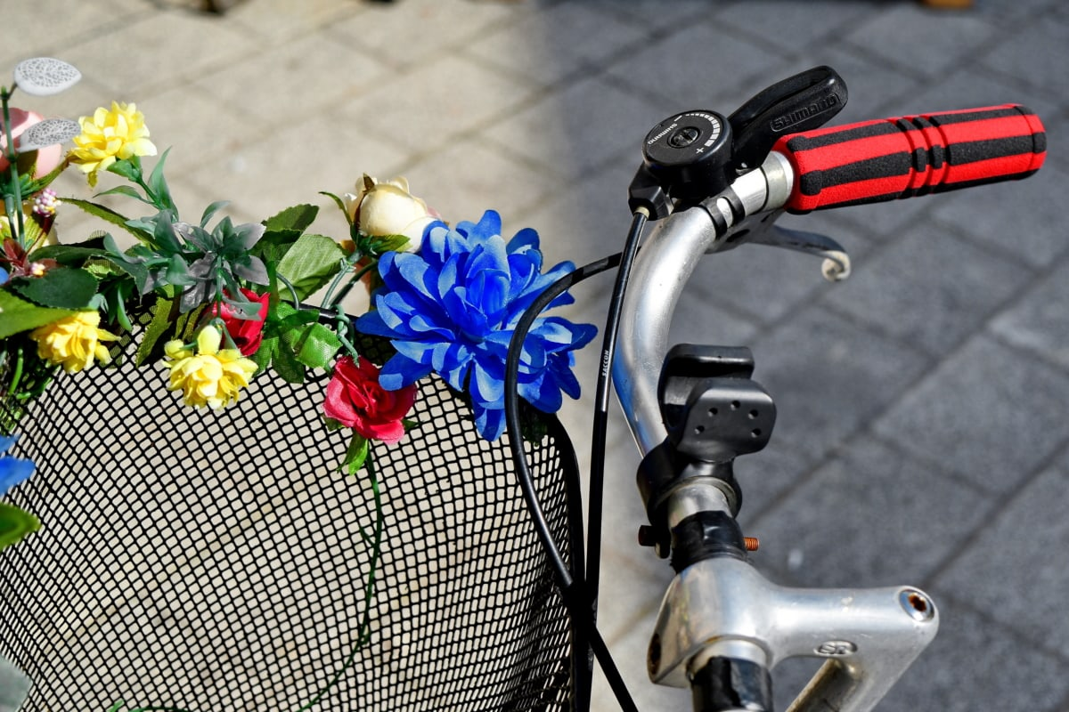 basket, bicycle, flowers, gearshift, romantic, steering wheel, flower, outdoors
