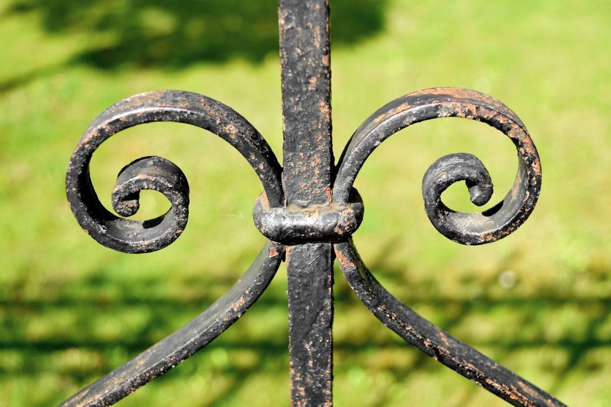 Чавун, паркан, ручної роботи, природа, трава, на відкритому повітрі, захист, залізо