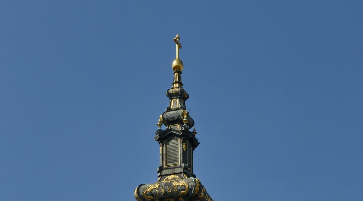 barokní, kostelní věž, kříž, dekorace, ornament, náboženství, minaret, architektura