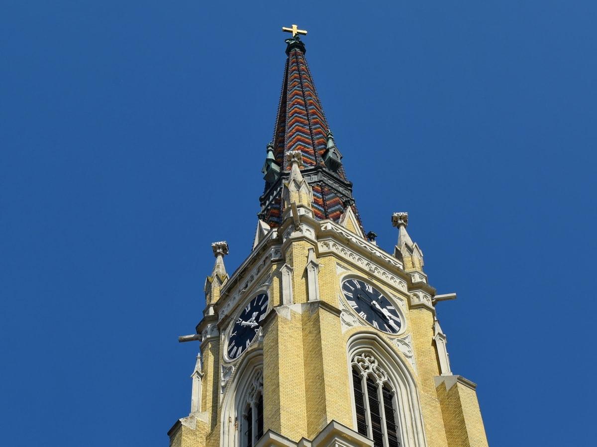 kostelní věž, gotický, perspektiva, Krycí, věž, hodiny, architektura, budova