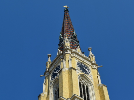 church tower, gothic, perspective, covering, tower, clock, architecture, building