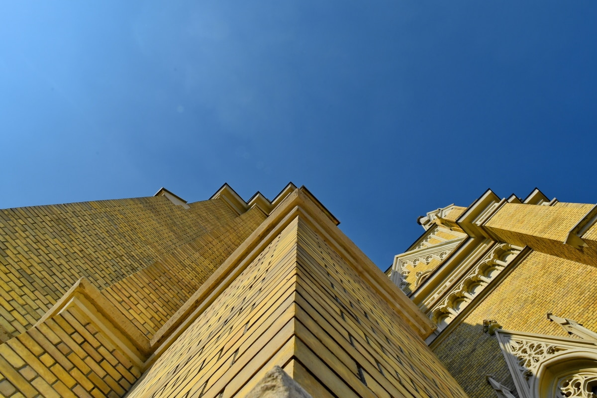 angle, bricks, church tower, corner, building, architecture, outdoors, roof