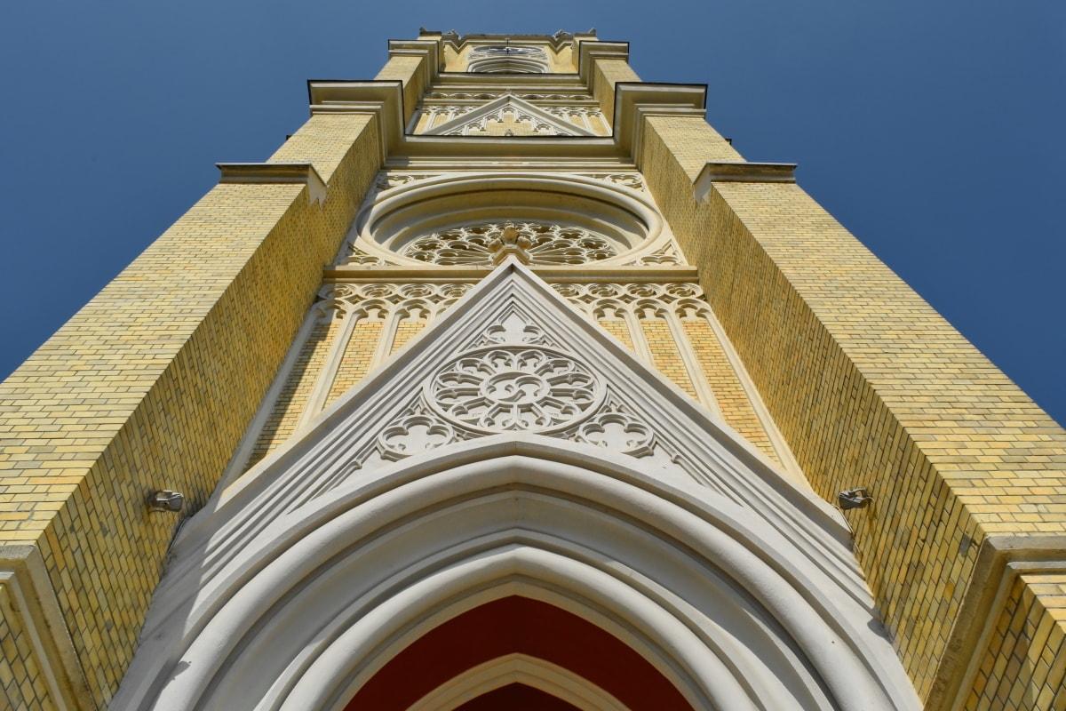 úhel, kostelní věž, centrum města, gotický, perspektiva, turistická atrakce, náboženství, budova