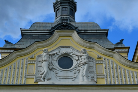 baroque, European, facade, sculpture, building, architecture, dome, religion