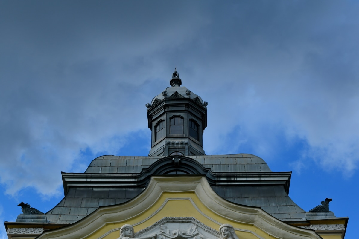 budynek, architektura, dachu, stary, Miasto, Krzyż, tradycyjne, Świątynia
