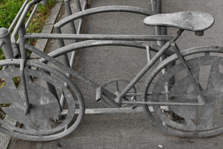 bicycle, parking lot, sculpture, stainless steel, bike, seat, device, wheel