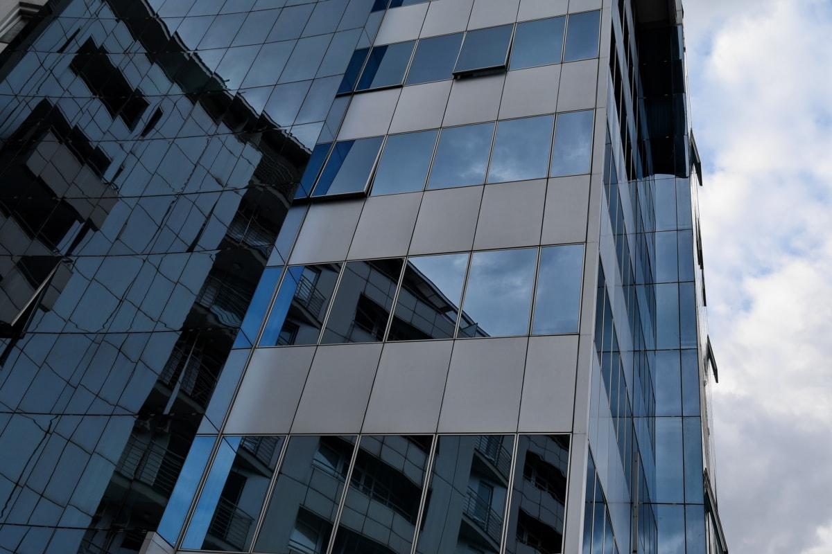 blå, arkitektur, bygge, skyskraper, virksomhet, byen, refleksjon, sentrum
